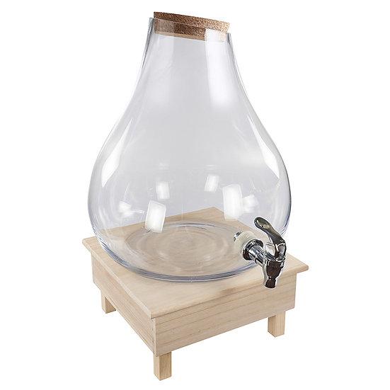 Suqueira em vidro 9,5L com base de madeira