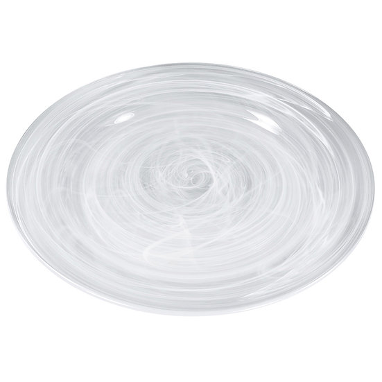 Prato de vidro decorado efeito nuvem 27cm
