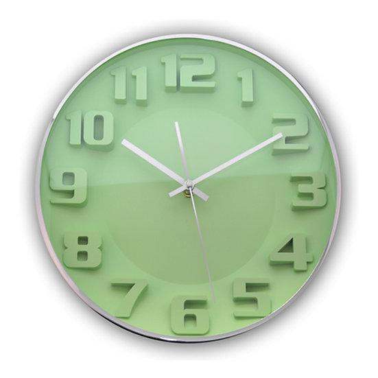 Relógio de parede cromado verde