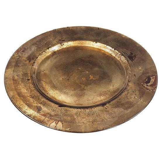 Sousplat de vidro decorado na cor bronze 30 cm