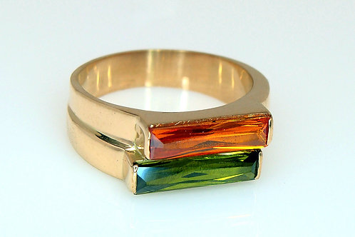 ESTATE Faux Double Band Citrine and Green Tourmaline Ring
