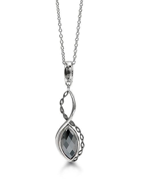HERA Sterling Silver AMARA Hematite Mist Infinity Pendant on Chain