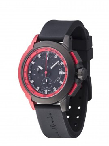 RITMO MUNDO Quantum II 43mm Stainless Watch with Black/Red Carbon Fiber Dial