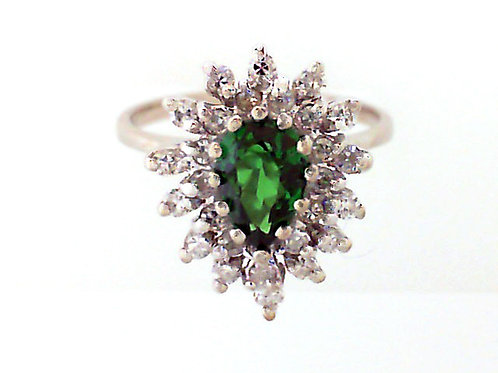 ESTATE Pear Tsavorite Garnet & Diamond Halo Ring in White 14K Gold