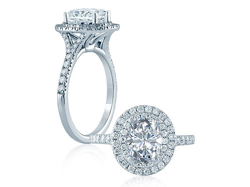 A. JAFFE 1892 0.50ct Oval Double Halo Engagement Ring BE1329OV/100