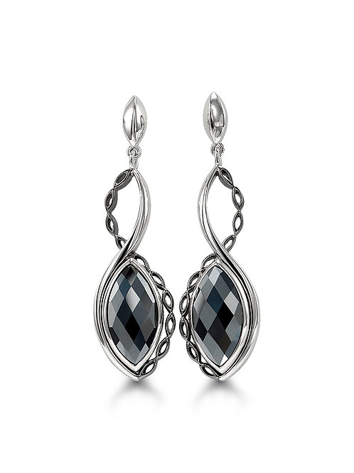 HERA Sterling Silver AMARA Hematite Mist Infinity Dangle Earrings