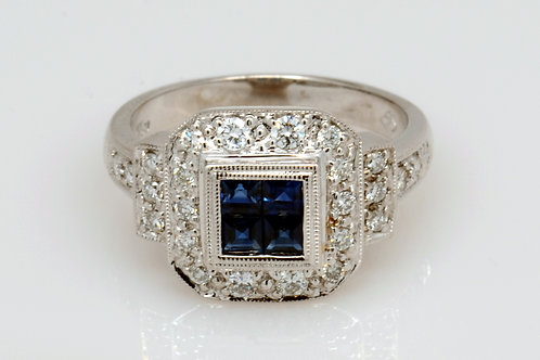 ESTATE Sapphire & Diamond Ring inWhite 18K Gold