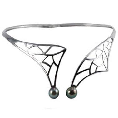 TAHIZEA Sterling Silver Tahitian Pearl UOA HIOMATA Collar