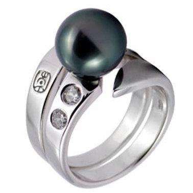 TAHIZEA Rhodium Plated Sterling Silver OPUREI Tahitian Pearl Ring