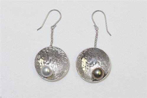 TAHIZEA Tahitian Pearl and Rhodium Plated Sterling Silver TIPO Earrings