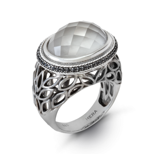 HERA Sterling Silver MEDITERRA Leaf Ring with Clear Mist Doublet and Black Spin