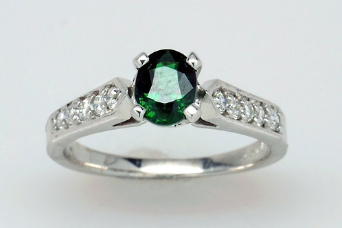 ESTATE Tsavorite Garnet and Diamond Ring in White 14K Gold