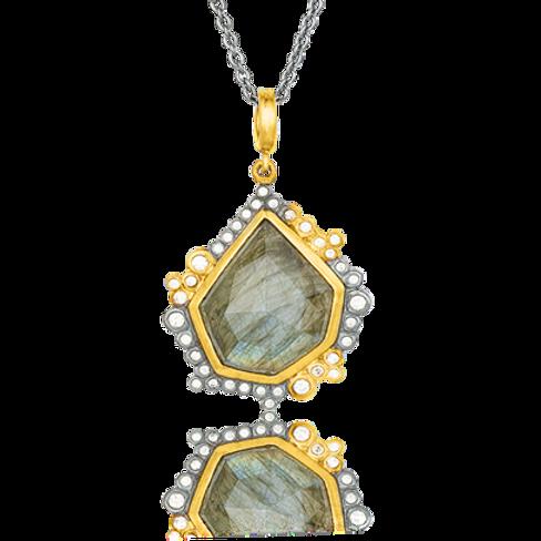 LIKA BEHAR Labradorite & Diamond Pendant DA24-N-104-GXDLA-1