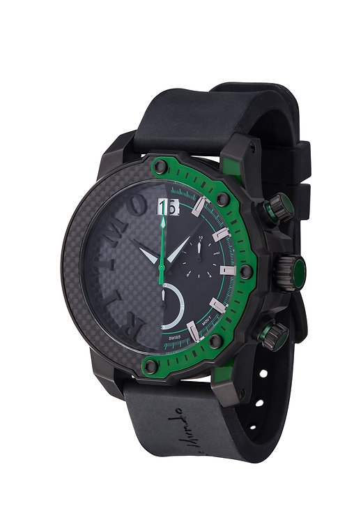 RITMO MUNDO Quantum III Racer 50mm Stainless with Black/Green Carbon Fiber Dial