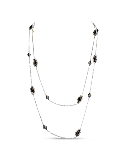 HERA Raya Station Chain Necklace in Sterling Silver with Marquise Onyx