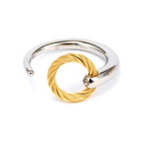 CHARRIOL Yellow Tone Stainless Steel and White Topaz ZEN Ring