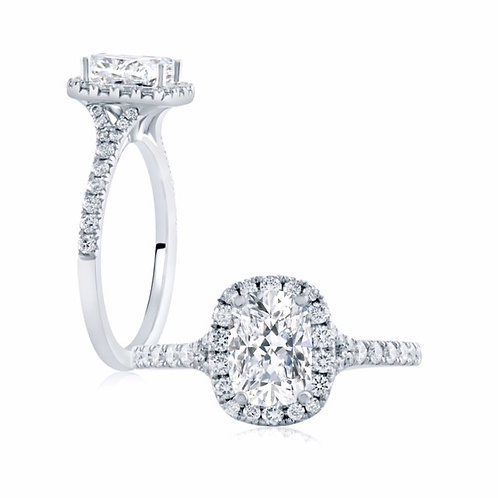 A. JAFFE 1892 0.63ct Cushion Halo Engagement Ring BE1283CU/119A