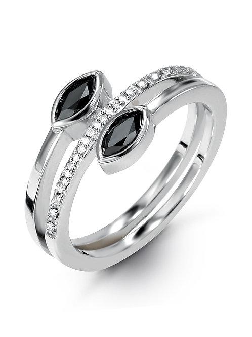 HERA Sterling Silver AMARA Hematite Mist and Diamond ByPass Ring