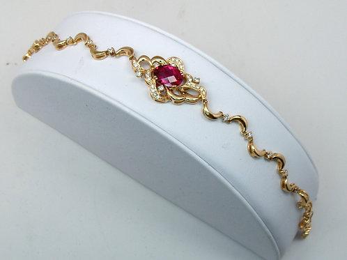 ESTATE Rubellite Tourmaline and Diamond Bracelet