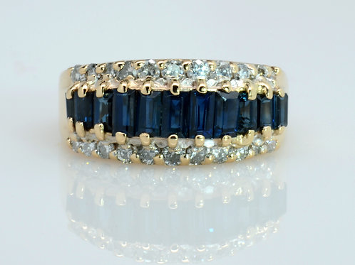 ESTATE Sapphire & Diamond Band in Yellow 14K Gold