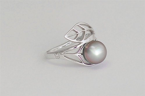 TAHIZEA Rhodium Plated Sterling Silver TIOPE Tahitian Pearl Ring