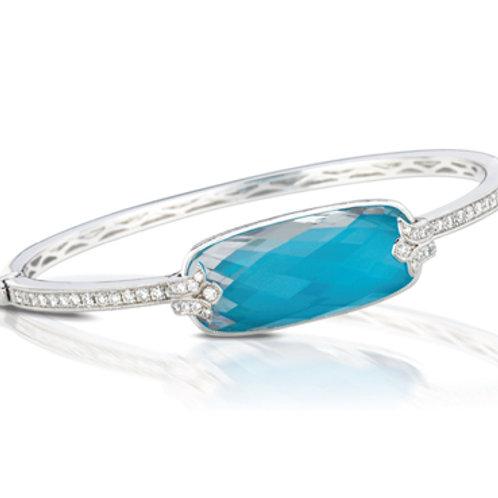 DOVES St. Barth's Blue & Diamond Hinged Bangle Bracelet