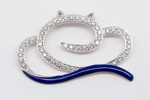 ESTATE Diamond & Blue Enamel Abstract Cat Slide Pendant
