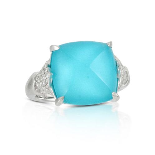 DOVES St. Barth's Blue & Diamond Ring in White 18K Gold