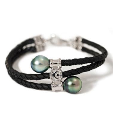TAHIZEA Tahitian Pearl MAUA Sterling Silver and Black Rubber Weave Bracelet
