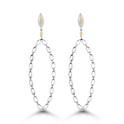 HERA Mediterra Feather Diamond Earrings in Sterling Silver and Yellow 18K Gold