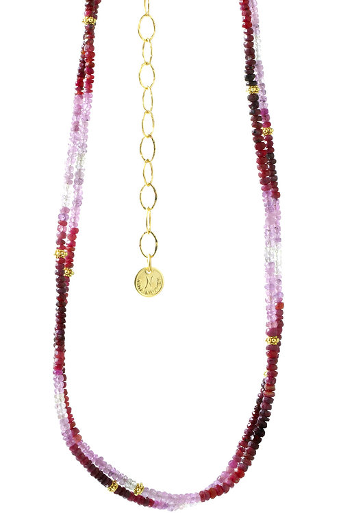 NINA NGUYEN 22K Gold Vermeil WISTERIA-HARMONY Shaded Ruby Bead Necklett