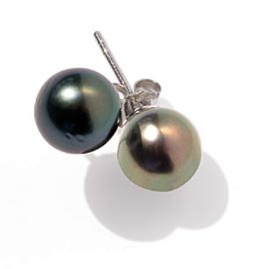 TAHIZEA Tahitian Pearl and Rhodium Plated Sterling Silver POERAVA Stud Earrings