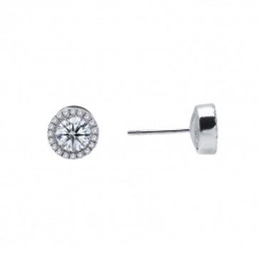 LAFONN Sterling Silver & 0.80tw Simulated Diamond Halo Stud Earrings