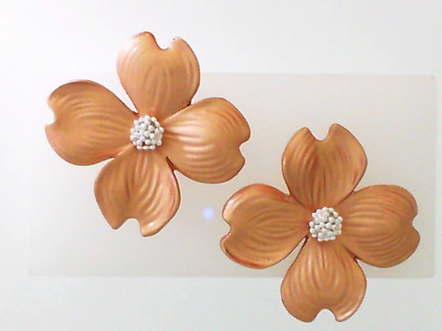 REBECCA HOOK Rose Gold Vermeil & Sterling Silver Dogwood Stud Earrings