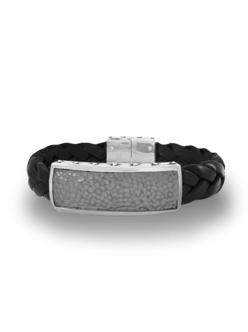 HERA Demir Men's Hammered Sterling Silver and Braided Leather Bracelet