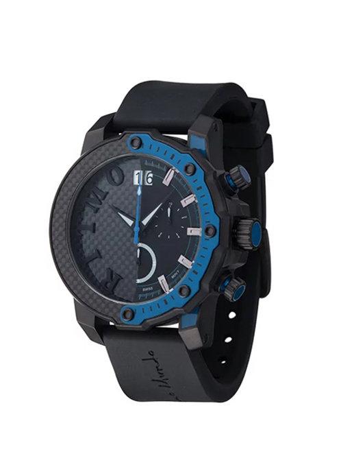 RITMO MUNDO Quantum III Racer 50mm Stainless with Black/Blue Carbon Fiber Dial