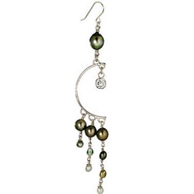 TAHIZEA Tahitian Pearl and Rhodium Plated Sterling Silver HITAPE VAHI Earrings