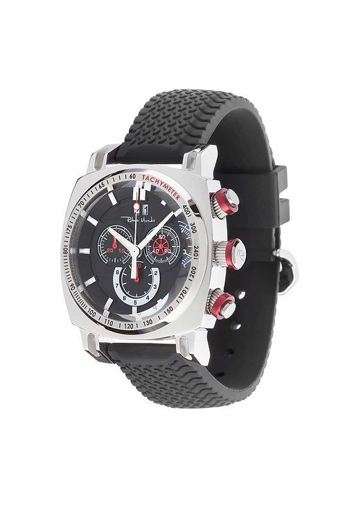 RITMO MUNDO Ritmo Racer 44mm Stainless Watch with Black Dial and Red Accents