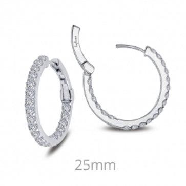 LAFONN Sterling Silver 2.16tw Simulated Diamond Hoop Earrings
