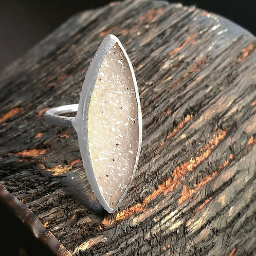 NINA NGUYEN Sterling Silver ZEN-ENLIGHTENED Marquise White DruzyRing