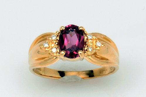 ESTATE Pink Rhodolite Garnet/Diamond Ring in Yellow 14K Gold