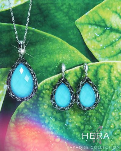 6c714ee92 HERA Sterling Silver PARADISE Pear Aqua Mist Drop Earrings