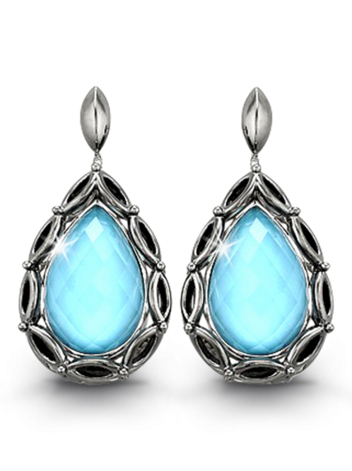 HERA Sterling Silver PARADISE Pear Aqua Mist Drop Earrings