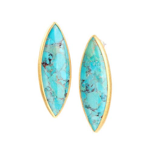 NINA NGUYEN 22K Gold Vermeil ZEN ENLIGHTENED Marquise Turquoise Earrings