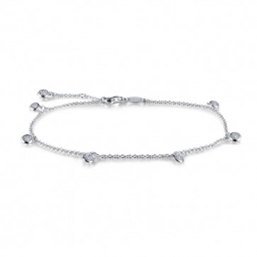 LAFONN Sterling Silver & Simulated Diamond Station Anklet