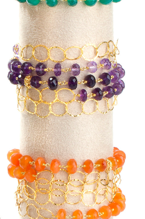 NINA NGUYEN 22K Gold Vermeil WISTERIA-MELODY Shaded Amethyst Bead/Chain Neckle