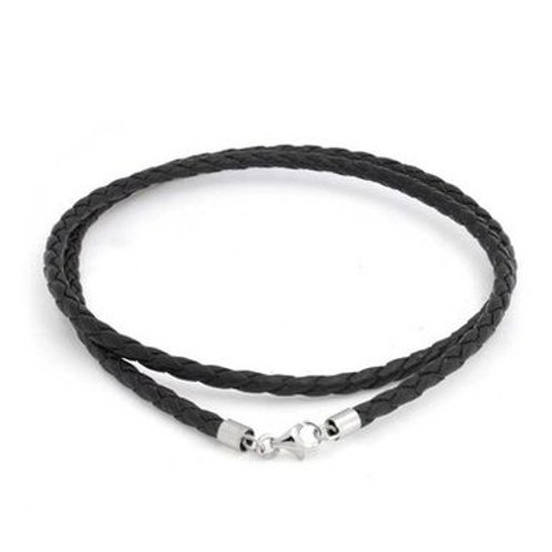 ELMA GIL Braided Black Leather Cord Necklette