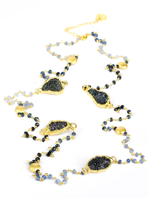 NINA NGUYEN 22K Gold Vermeil Balck Druzy and Shaded Sapphire Bead Necklace