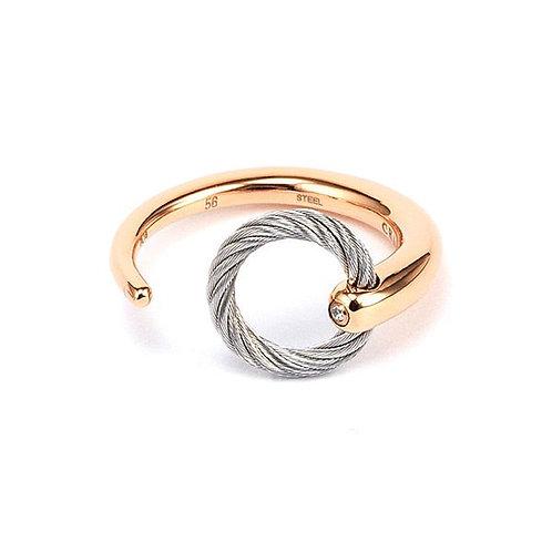 CHARRIOL Rose Tone Stainless Steel and White Topaz ZEN Ring
