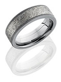 "LASHBROOK ""Meteorite Sandblast"" Men's Titanium Wedding Band with Meteorite Inlay"